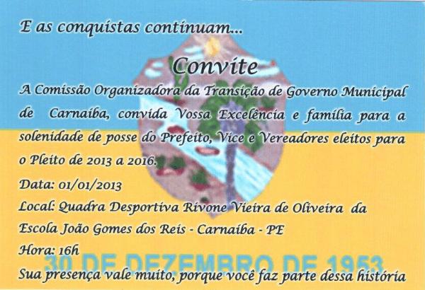 Convite Posse Prefeito Eleito De CarnaÍba JosÉ MÁrio Cassiano