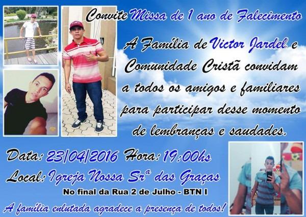 Convite Para Missa De 1 Ano De Falecimento Do Jovem Victor Jardel
