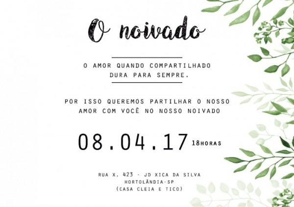 Arte Do Convite (noivado)
