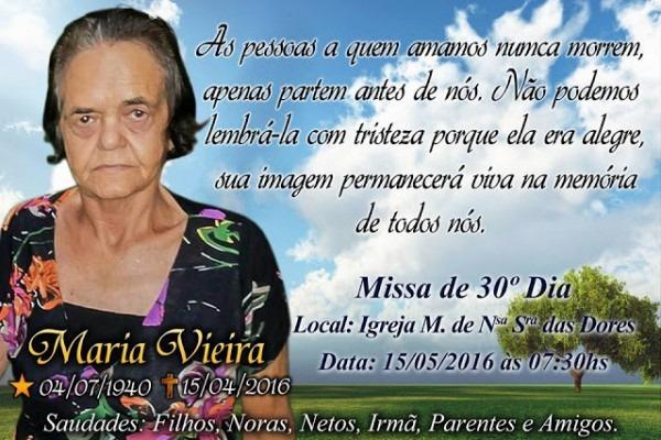 Olhar CrÍtico  Convite De Missa De 30 Dias De Maria Vieira