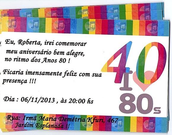Convite Para Aniversario 40 Anos