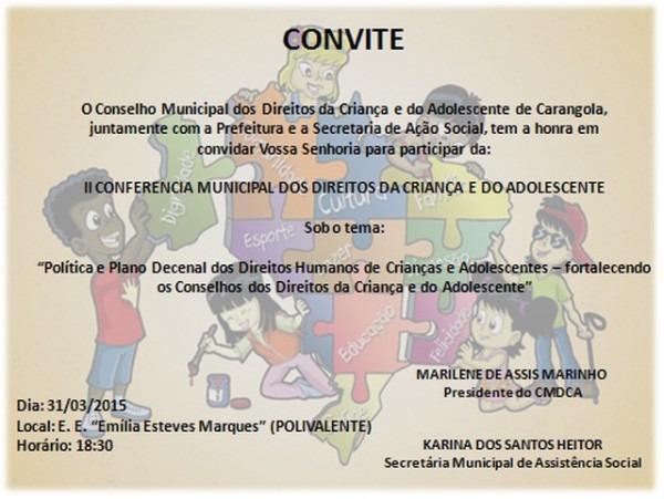 Convite  Ii Conferência Municipal De Direitos Da Criança E