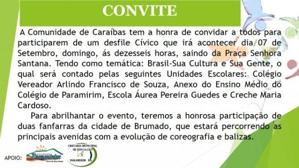 Convite – Desfile Cívico De 7 De Setembro Em Caraíbas