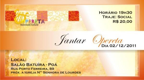 Associação Cultural Opereta  Opereta Convida  1º Jantar