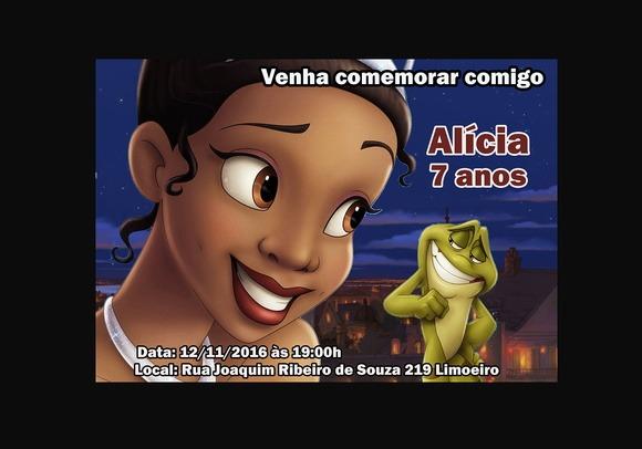 Convite A Princesa E Sapo Tamanho 7x10