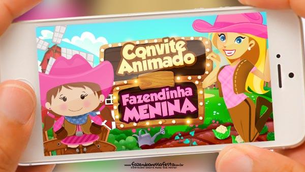 Convite Animado Fazendinha Menina Grátis Pronto Para Baixar