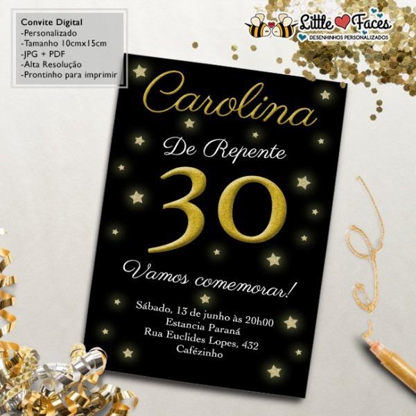 Convite Aniversário 30 Anos Digital No Elo7