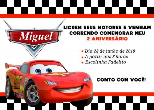 Convite Aniversário Infantil Carros Disney