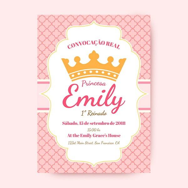 Convite Aniversario Infantil Coroa Realeza