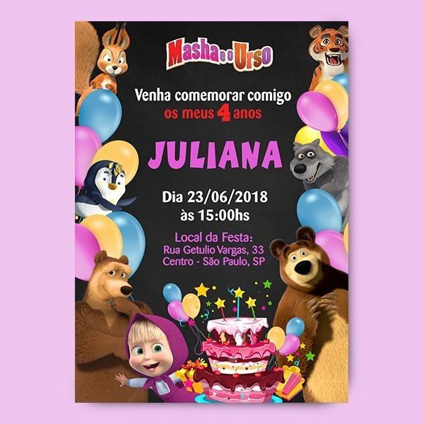 Convite Aniversario Infantil Masha Eo Urso Digital