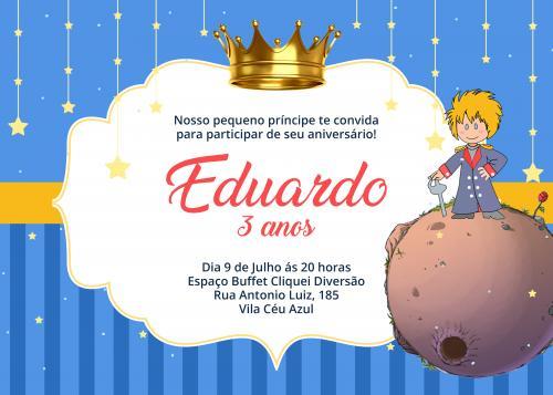 Convite Aniversário Infantil Pequeno Príncipe