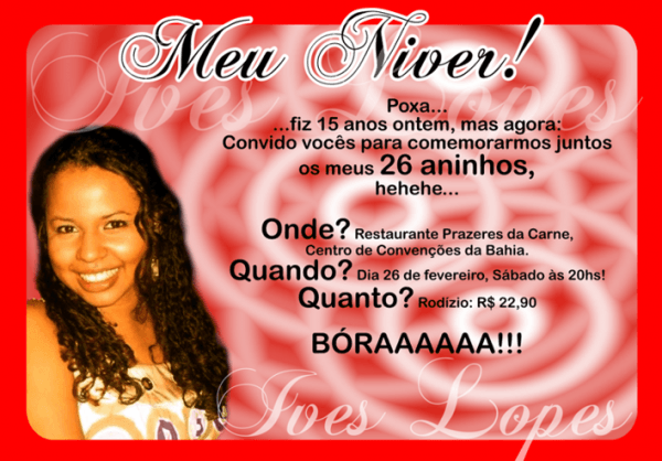 Convite Niver Da Ives Lopes