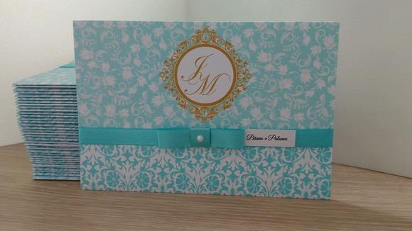 Convite Azul Tiffany Com Dourado C4t0