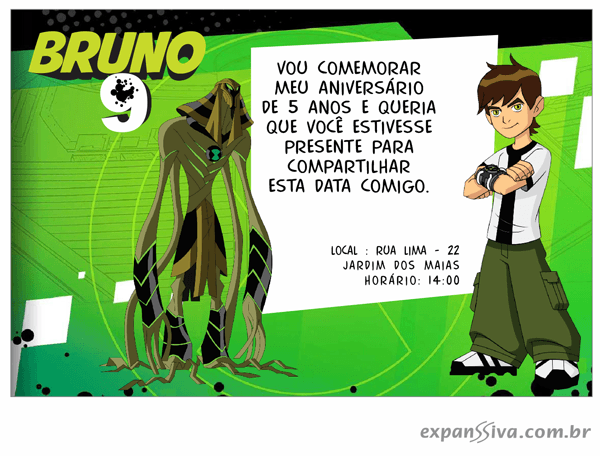 Convites De Aniversário Ben 10