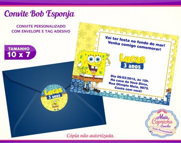 Convite Bob Esponja No Elo7