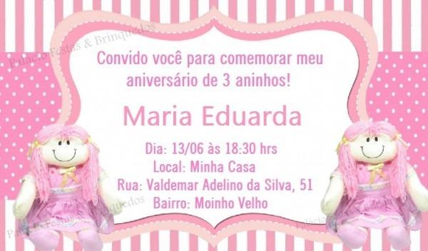 Convite Boneca De Pano No Elo7