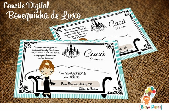 Convites Bonequinha Luxo