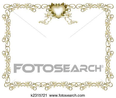 Convite Casamento, Ouro, Borda, Anjos Clipart