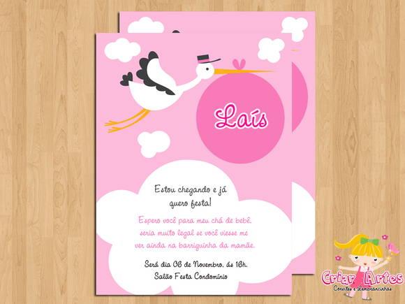 Convite Chá De Bebê Cegonha Rosa No Elo7