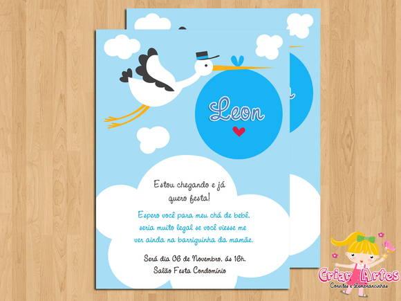 Convite Chá De Bebê Cegonha Azul No Elo7