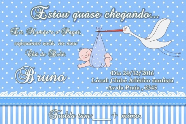 Convite Cha De Bebê Cegonha No Elo7