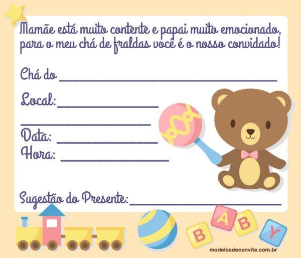 Convite Para Chá De Fraldas Masculino Do Ursinho – Modelos De Convite