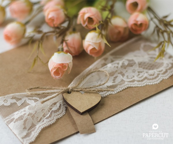 Convite De Casamento Rústico Com Renda Rangel – Papercut
