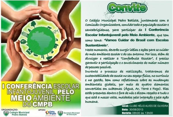Convite  I Conferência Escolar Infanto Juvenil Pelo Meio Ambiente
