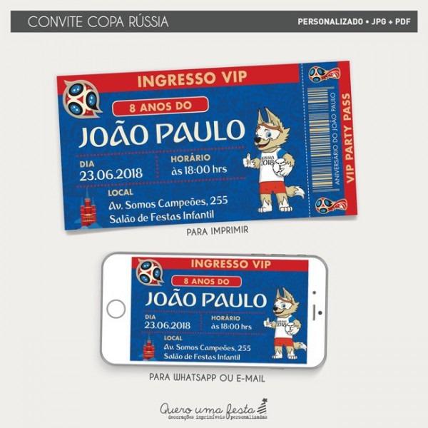 Convite Aniversario Infantil Copa