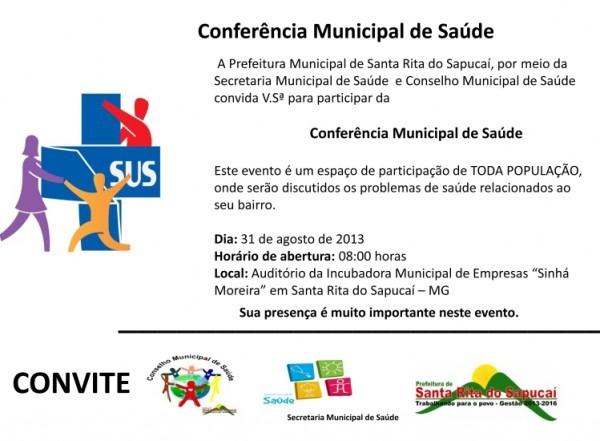 Convite Conferência Municipal De Saúde » Prefeitura Municipal De