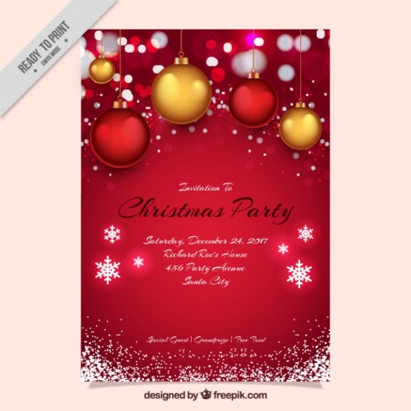 Convite Da Festa De Natal Vermelho Com Esferas E Flocos De Neve