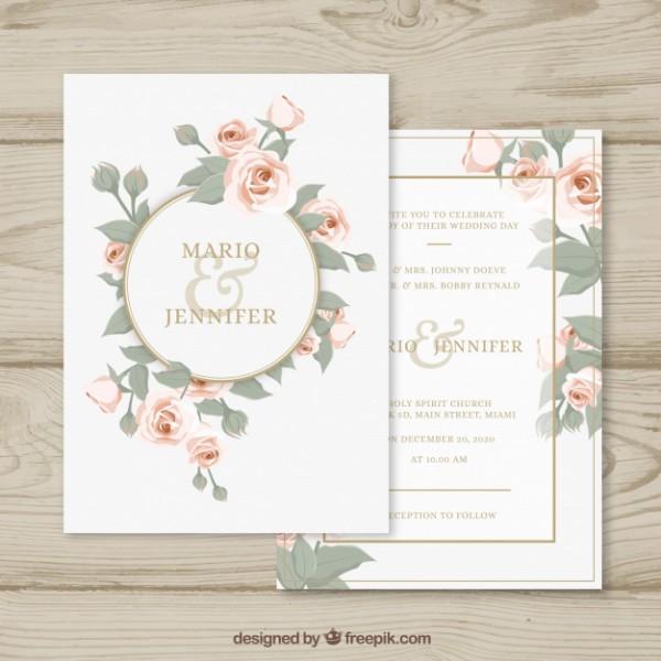 Convite De Casamento Com Círculo Floral