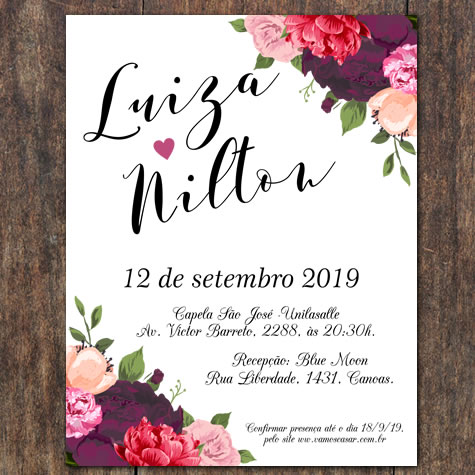 Convite Floral Do Amor
