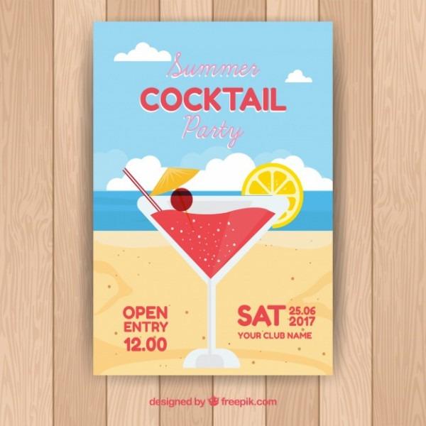 Convite De Coquetel Na Praia