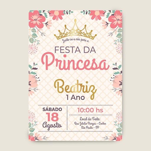 Convite De Festa De 1 Ano Menina Digital Princesa