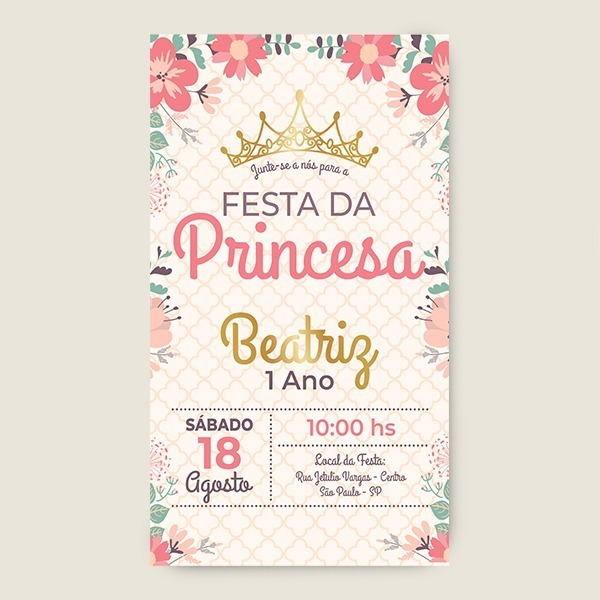 Convite De Princesa 1 Ano Menina Enviar No Whatsap