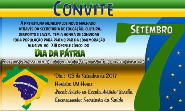 Novo Machado Terá Desfile Cívico Dia 3 De Setembro – Jornal Sentinela