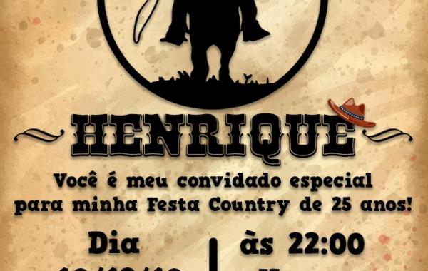 Convite Digital Aniversário Country Masculino No Elo7