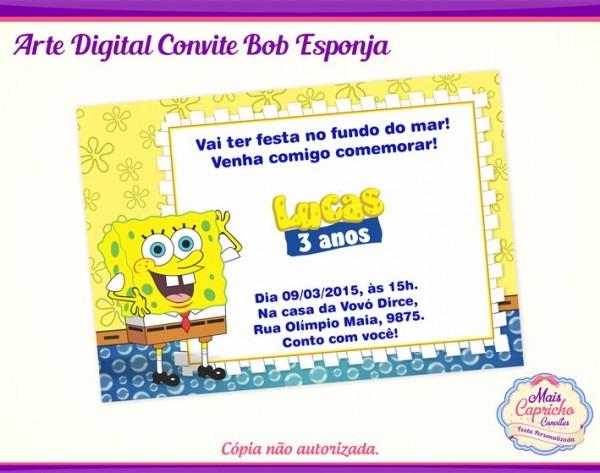 Arte Convite Digital Bob Esponja No Elo7