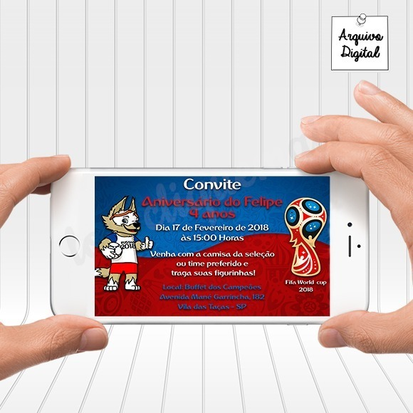 Convite Digital Futebol Copa Do Mundo 2018 Fifa Horizontal