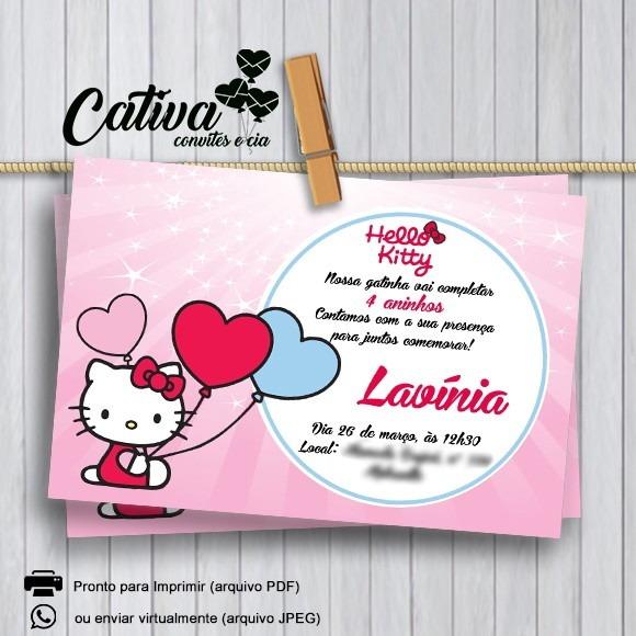 Convite Digital Hello Kitty No Elo7