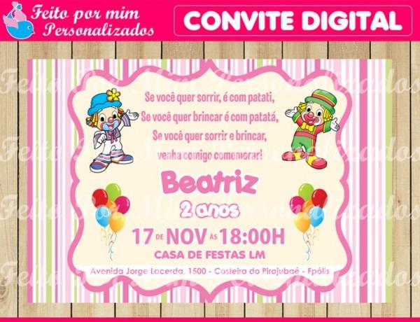 Convite Digital Patati Patata Menina