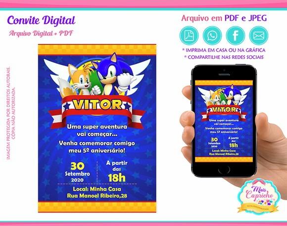 Convite Digital Sonic No Elo7