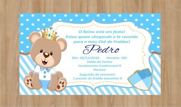 Convite Digital Ursinho Príncipe No Elo7