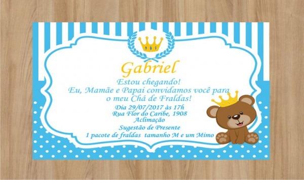 Convite Digital Ursinho Rei No Elo7