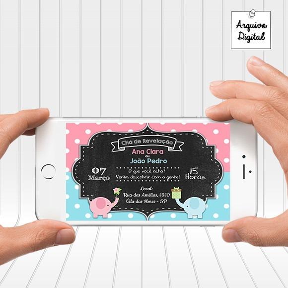 Convite Digital Virtual Chá De Revelação Menino Menina No Elo7