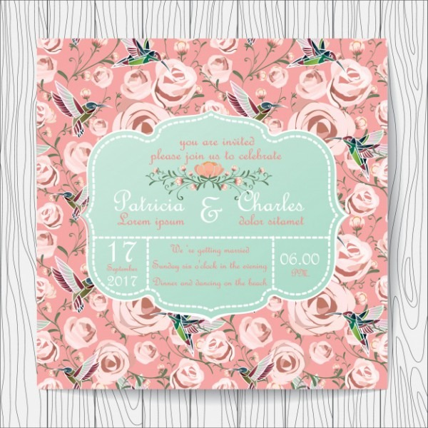Convite Do Casamento Rosas E Fundo Beija