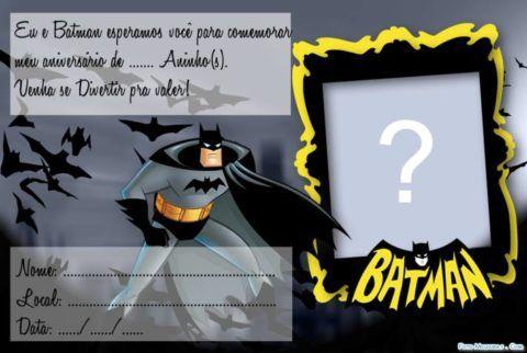 Convite Do Batman Para Editar