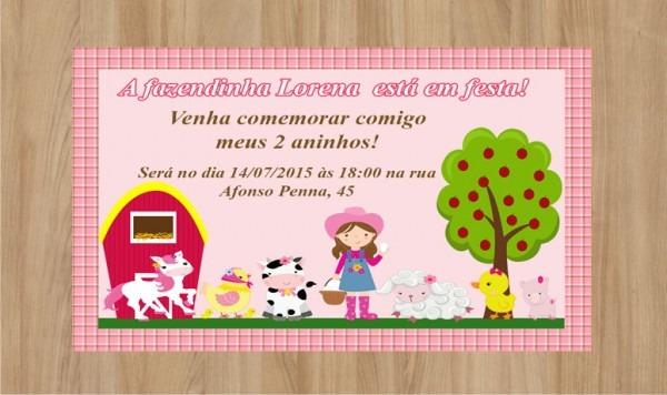 Convite Fazendinha Menina Frete Grátis No Elo7