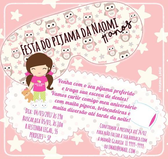 Convite Festa Do Pijama Teen